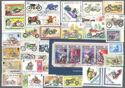 Motorcycles-Motorbikes 100 all different  stamp collection