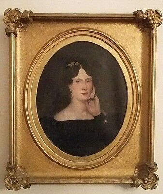 Mid 19thc Oval Oil Portrait Painting of a Beautiful Society Lady Circa 1850