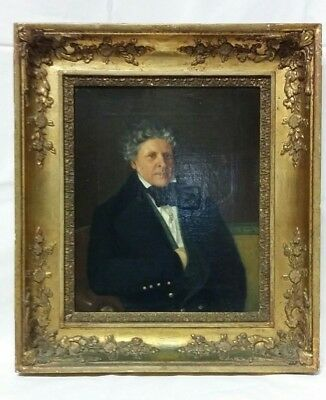 19thc Oil Portrait Painting of a 'Society Gent' Signed J W Wallander (1 of 2)