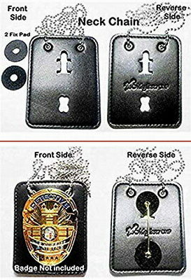 Universal Shield Leather Badge Holder with Neck Chain - Fit Most All Badge