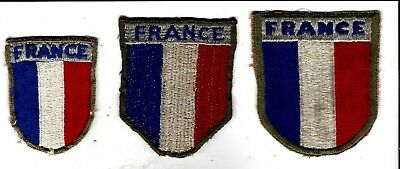 WW2 rare, used France War Aid  patches (3), 1 awesome theatre made, Underrated!