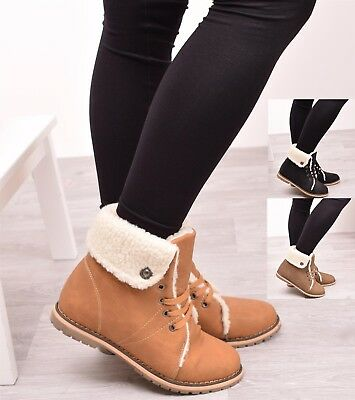 Ladies Womens Winter Fur Ankle Boots Combat Army Warm Snow Casual Shoes Size 3-8