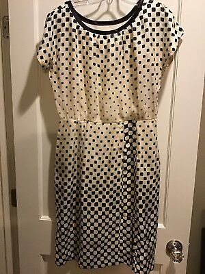 """Vintage 1950s Madeleine Fauth """"Clothes For You"""" S/M ? Black & White Silk Dress"""