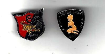 VN War rare & real 68th & 117th Asst Helicopter Co beercan insignias, patch like
