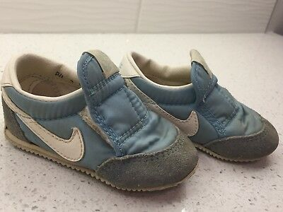 80s VINTAGE NIKE BABY BLUE LEATHER SHOES TENNIS SNEAKERS SZ 3 BABY/INFANT