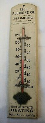 Antique Advertising Thermometer Wood Reed Plumbing Fairmont WV 3 digit phone