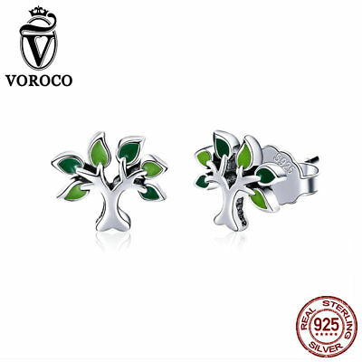 VOROCO 925 Sterling Silver Simple Tree of life Earring Stud with Green Enamel