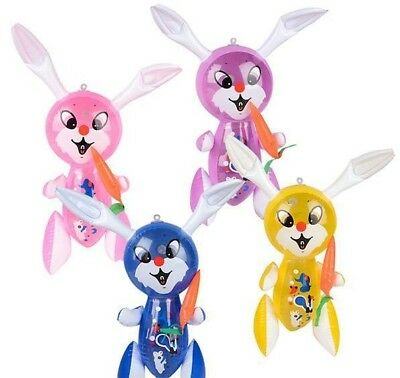 """12 Pack Set 17"""" RABBIT WITH CARROT INFLATE Easter Inflatable Bunny Blow Up"""
