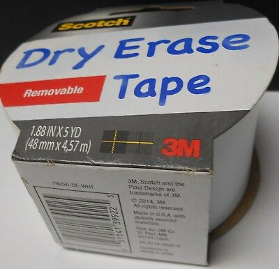 "2 rolls of Scotch Dry Erase Tape. White. 1.88"" x 5 yards each.  #120"