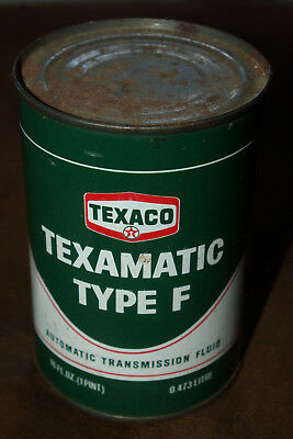 Texaco Texamatic Fluid Transmission Type F One Quart Metal Can - Unopened