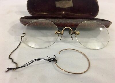 Antique Rimless Pince-Nez Eye Glasses With Ear Loop & Case