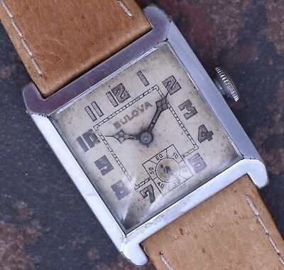 Bulova Ambassador 1929 Vintage Art Deco Radium Dial 7j 10AN Serviced NOS Band