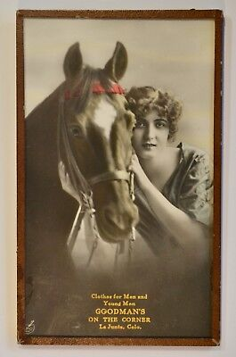 VTG GOODMAN'S Trade Card Advertisement~Glass Frame~Early 1900s~La Junta Colorado