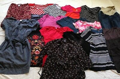 Lot Of 17 Maternity Shirts, Legging, Dress, Jean Size Large - XL, Great Lot GUC
