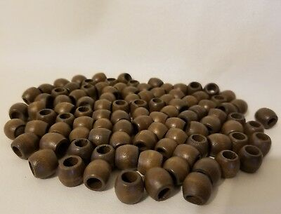 "Lot of 100 Small Walnut Macrame 1/2"" Barrel Wood Craft Jewelry Beads 11mm x 13mm"