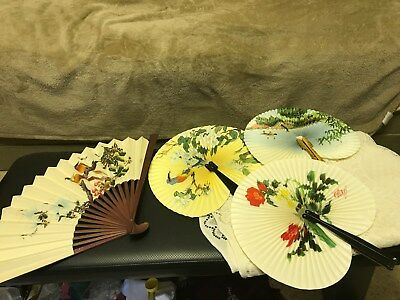 LOT OF 4 ~ Chinese Hand Fans ~ Paper, Wood, Metal ~ Vintage