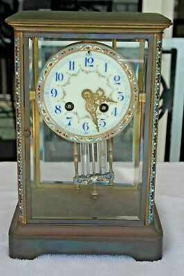 French Champleve Enamel & Bronze Clock Signed H & H Made in France