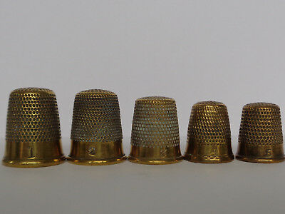 Lovely Collection of Five Vintage/ Antique Brass Thimbles, Sizes: 1, 2, 3, 4 & 5