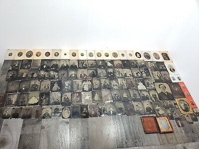 HUGE Lot of 124 Vintage Antique Tintype Photos pictures