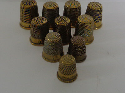 Lovely Collection of 10 Vintage/ Antique Small Brass Thimbles, Various Sizes