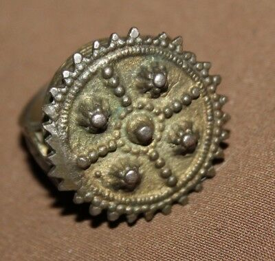 Antique Greek Folk Hand Made Bronze Ring