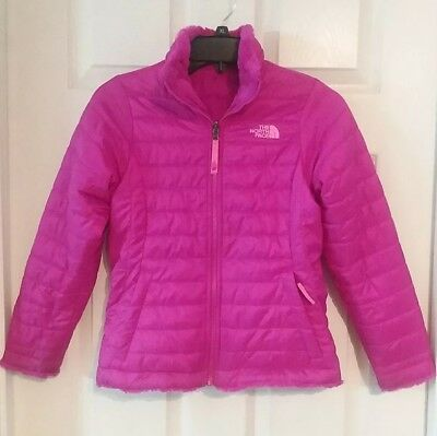 The North Face Pink Reversible Puffer Jacket Fleece Winter Coat Med. Girls SHINY