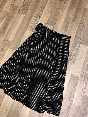 Ladies Black And White Polka Dot M&Co Floaty Skirt Uk12 Vgc