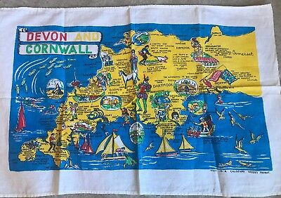 Causeway Devon And Cornwall Painted Map Clothe Decorative Kitchen Towel