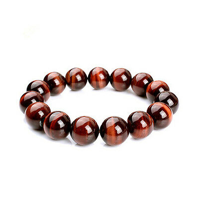 AAA+ Natural Red Tiger Eye Stone Round Beads Stretchy Women&Men Bracelet Bangle
