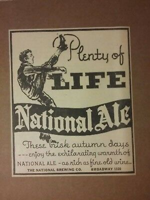 1934 National Brewing Company Ale Beer Ad Plenty Of Life  Football Scene