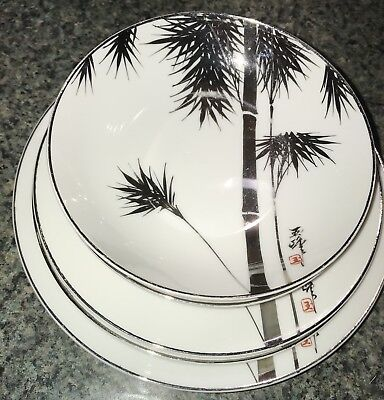 Antique Japanese Silver Lustre Ware Porcelain 6Pc Setting With Bamboo Tree Motif