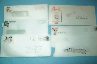 Lot of 5 Different Mid 1960s Big Boy Business Envelopes - JB's, Kip's, Shoney's