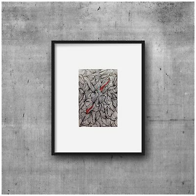 original art, black, red and white drawing, abstract, pen and ink, zen doodle