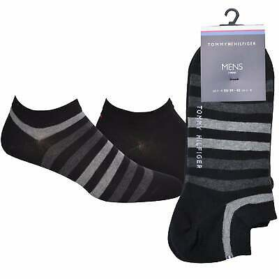 Tommy Hilfiger 2-Pack Duo Stripe Men's Trainer Socks, Black/Grey