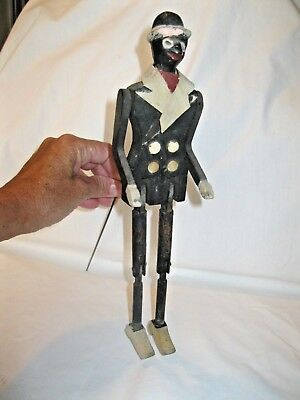 Vtg Black Americana Folk Art, Jointed Jigger Tap Dancer, Wood & Clay;  11-1/2""