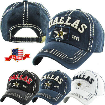 Dallas Vintage Distressed Baseball Cap Cotton Washed Dad Hat