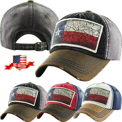 Flag of Texas Vintage Distressed Baseball Cap Cotton Washed Dad Hat