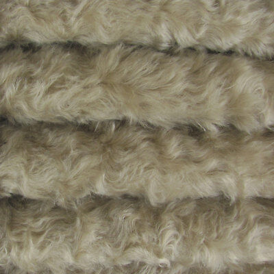 "1/4 yd 785S/C Stone INTERCAL 3/4"" Med. Dense Curly German Mohair Plush Fabric"