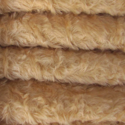 "1/4 yd 785S/C Wheat INTERCAL 3/4"" Med. Dense Curly German Mohair Plush Fabric"