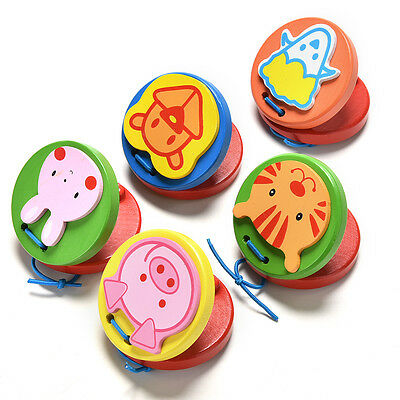 Cartoon Castanets Infant Wooden Musical Toy Instrument Educational Kids Toy PMBF