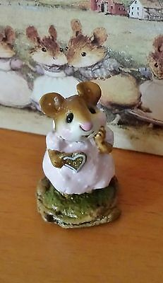 Wee Forest Folk M-080 Girl Sweetheart 1997 LENA'S SPECIAL Pink w/Dots Rare Mint