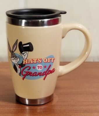 "Hallmark Looney Tunes ""Hats Off to Grandpa"" Bugs Bunny Ceramic Travel Mug Lid"