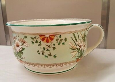 Antique Minton England Aesthetic Arts and Craft White Daisies Lilies Chamber Pot
