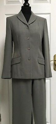 LAURA ASHLEY UK10/30L Sage Green Wool Blend Trouser Suit. Fully Lined Jacket