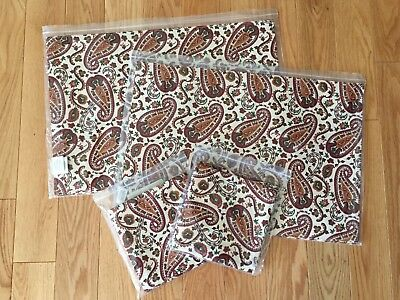 Longaberger Retired Chelsea Paisley Fabric 4 Placemats & 4 Napkins New FREE SHIP