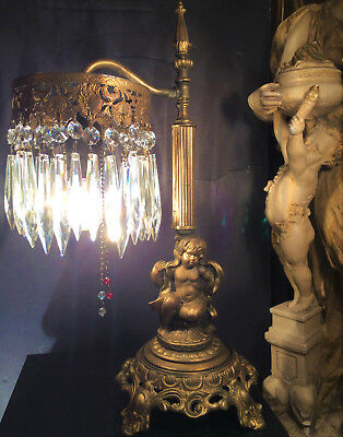 Fine Antique French Gilt Bronze Cherub Table Lamp W /old Cut Crystals C1915