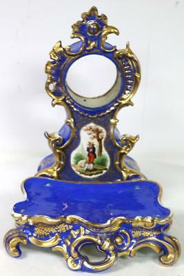 French Antique Blue Paris Porcelain Hand Painted Mantel Clock Case & Base C1840