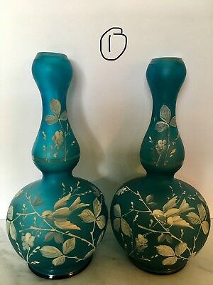 Pair of Antique Thomas Webb &Sons Enameled Satin Glass Vases