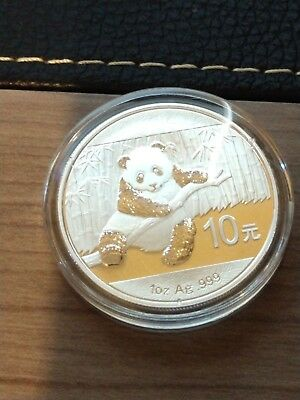 2014 Panda One Ounce 10 yuan Silver .999 Coin in Capsule