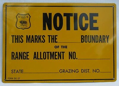 US Department of Interior Notice Range Allotment Grazing District Metal Sign